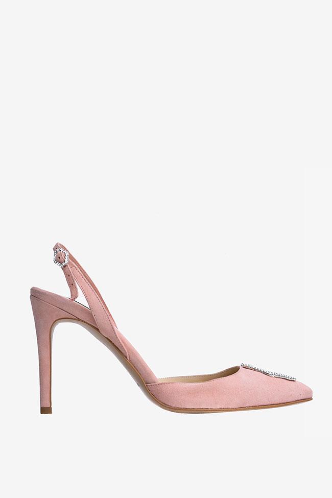 Pantofi din piele intoarsa nude si accesoriu tip cristal Ginissima imagine 0