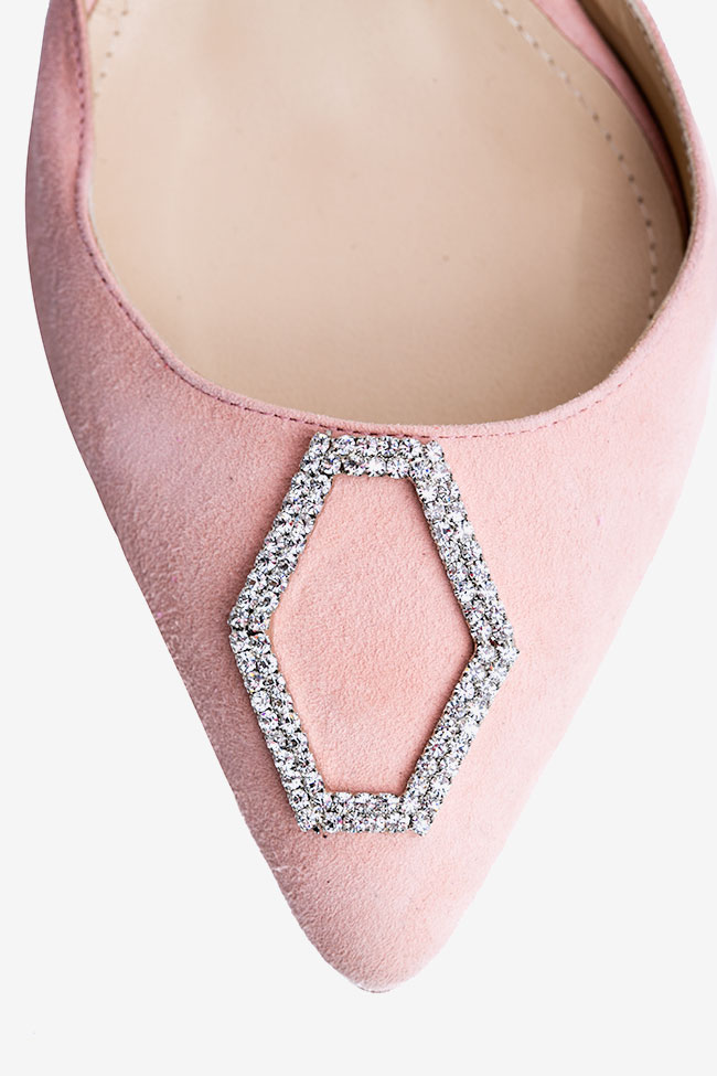Pantofi din piele intoarsa nude si accesoriu tip cristal Ginissima imagine 3