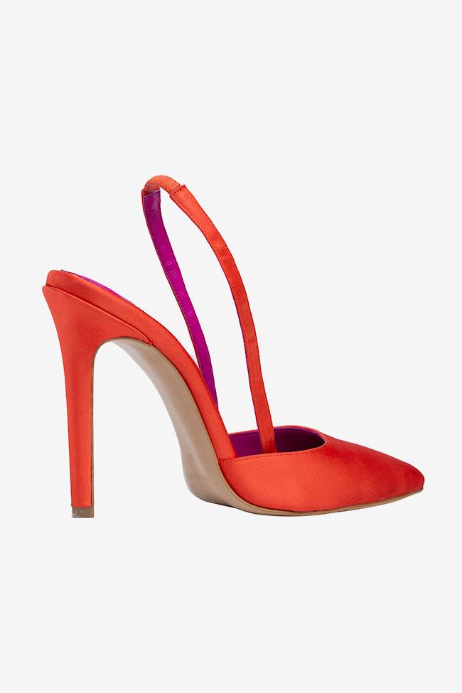Chaussures à bout pointu en satin orange Ginissima image 1