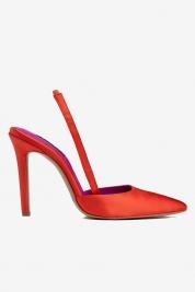 Ginissima Chaussures à bout pointu en satin orange