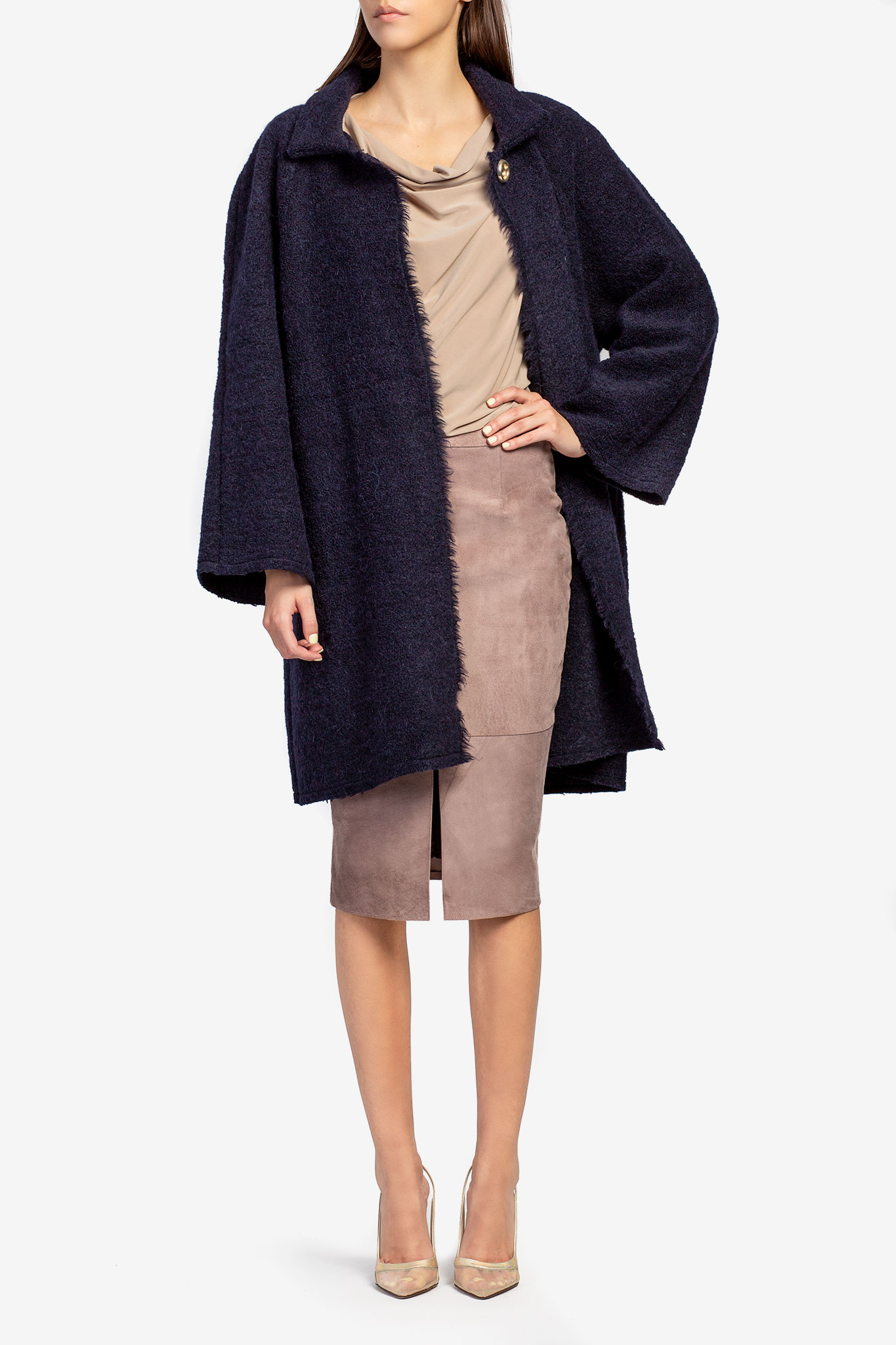 Cardigan din lana bleumarin Acob a Porter imagine 1