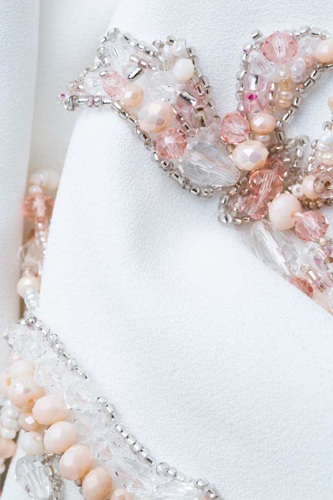 Rochie tip sacou din crep italian cu cristale si perle M Marquise imagine 4