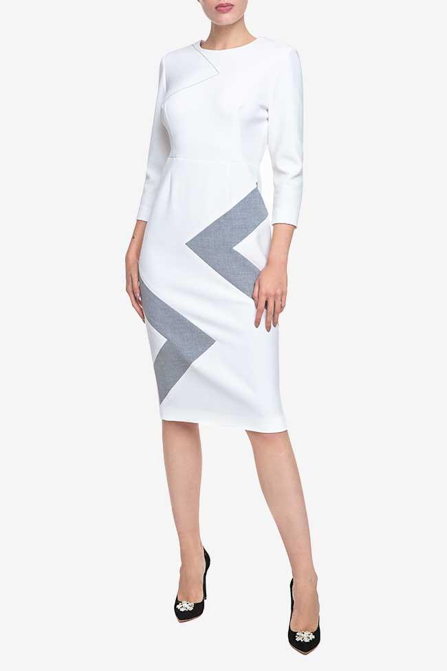 Rochie alba din bumbac cu insertie geometrica Claudia Castrase imagine 0