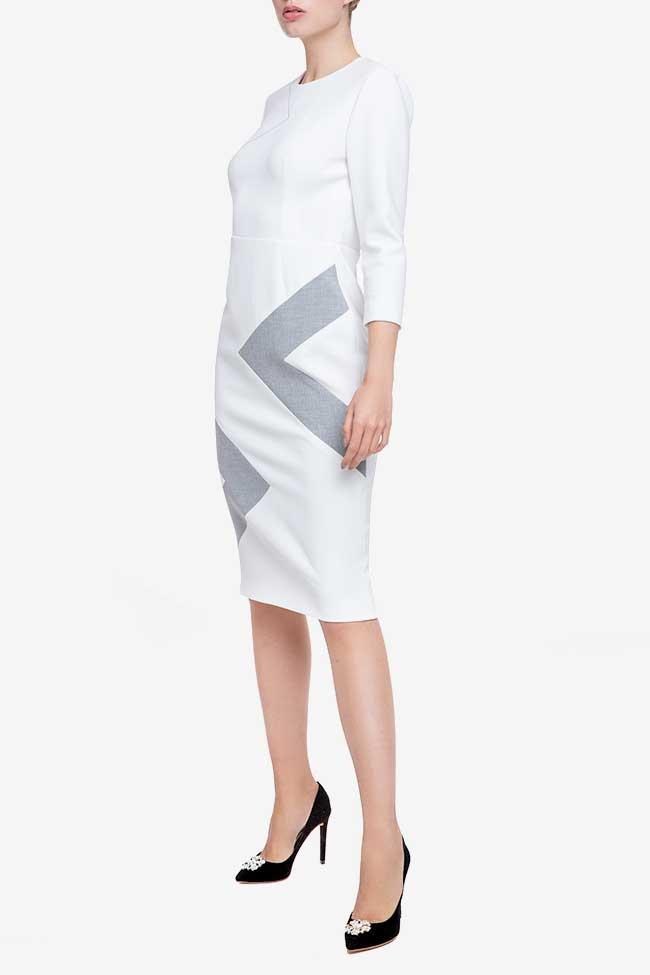 Rochie alba din bumbac cu insertie geometrica Claudia Castrase imagine 1