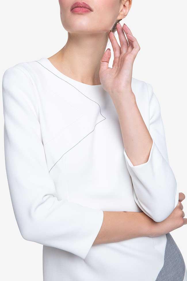 Rochie alba din bumbac cu insertie geometrica Claudia Castrase imagine 3