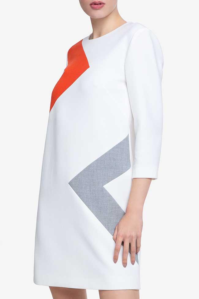 Rochie alba din bumbac cu dungi portocalii Claudia Castrase imagine 1