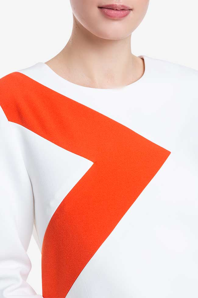 Rochie alba din bumbac cu dungi portocalii Claudia Castrase imagine 3