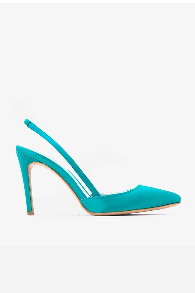 Pantofi turcoaz din satin decupati la spate Ginissima imagine 0