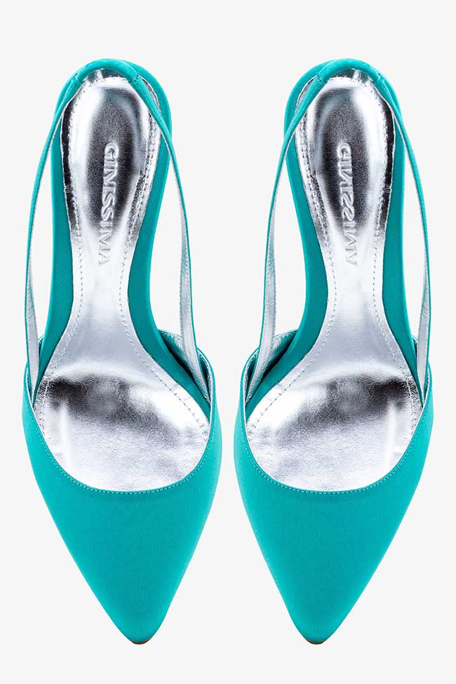 Pantofi turcoaz din satin decupati la spate Ginissima imagine 2