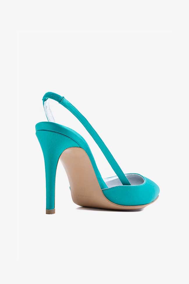 Pantofi turcoaz din satin decupati la spate Ginissima imagine 1