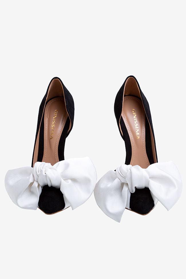 Pantofi din piele intoarsa neagra cu funda supradimensionata din satin Ginissima imagine 3