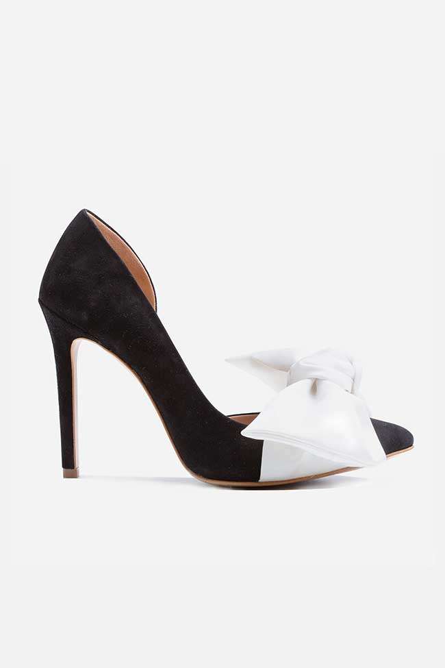 Pantofi din piele intoarsa neagra cu funda supradimensionata din satin Ginissima imagine 0