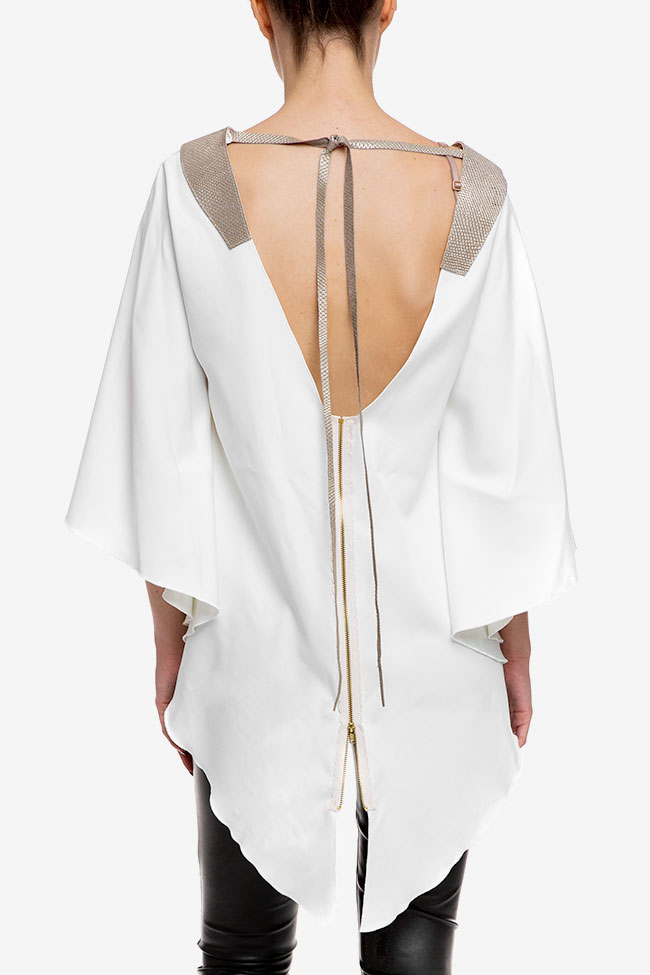 Top alb asimetric cu spate decupat Anca si Silvia Negulescu imagine 2