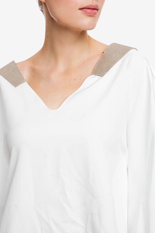 Top alb asimetric cu spate decupat Anca si Silvia Negulescu imagine 3