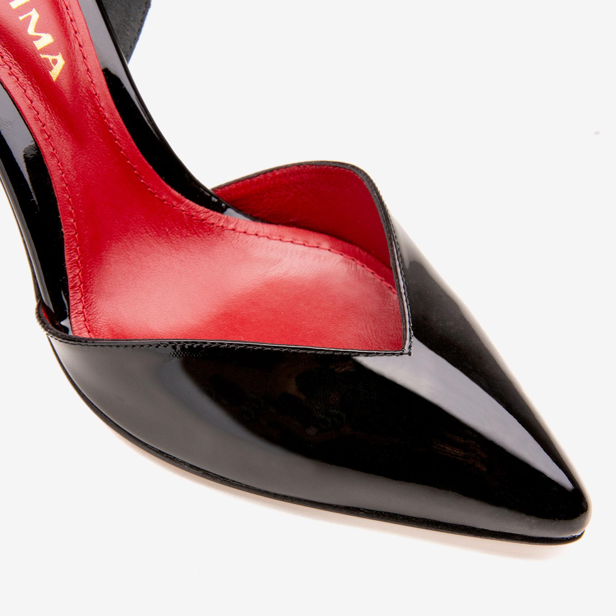 Pantofi din piele lacuita neagra cu varf ascutit Ginissima imagine 4
