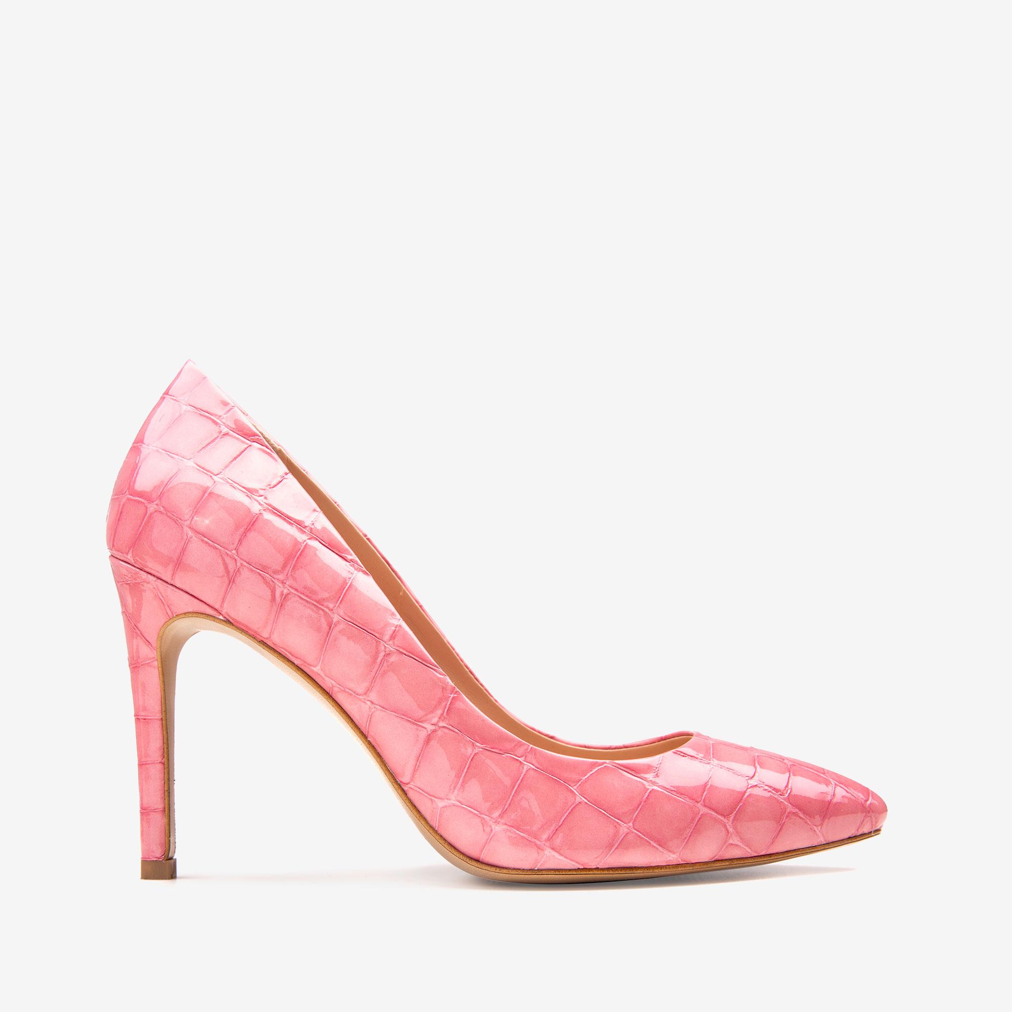 Pantofi cu varf ascutit din piele croco roz Ginissima imagine 0