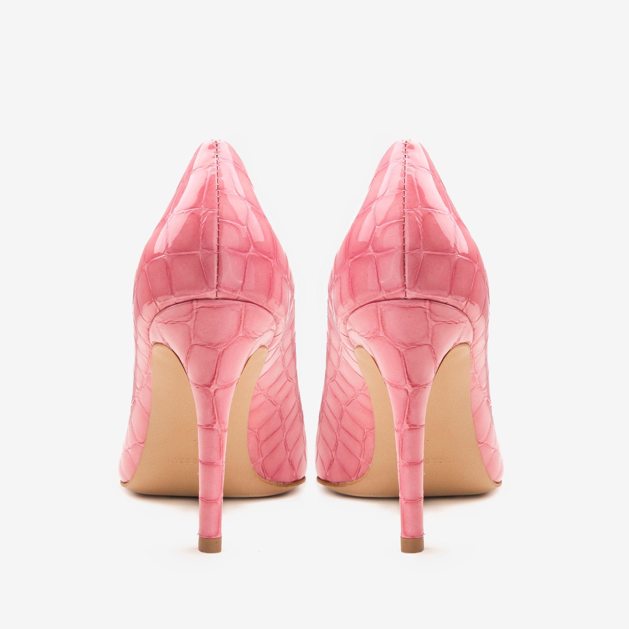 Pantofi cu varf ascutit din piele croco roz Ginissima imagine 3