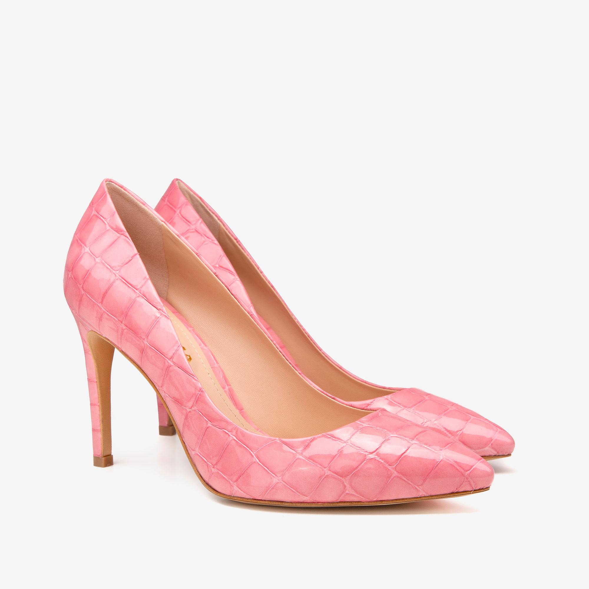 Pantofi cu varf ascutit din piele croco roz Ginissima imagine 1