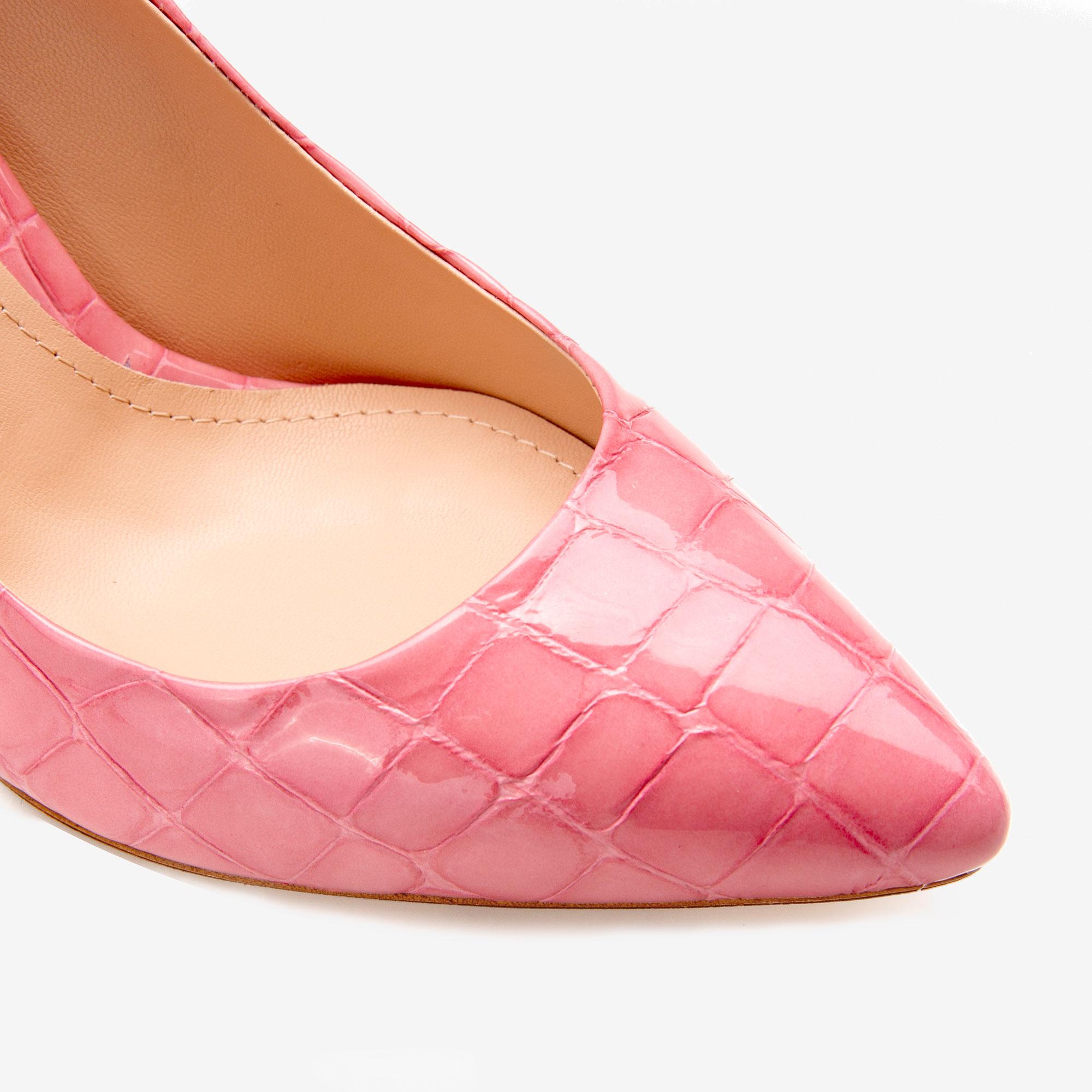 Pantofi cu varf ascutit din piele croco roz Ginissima imagine 4