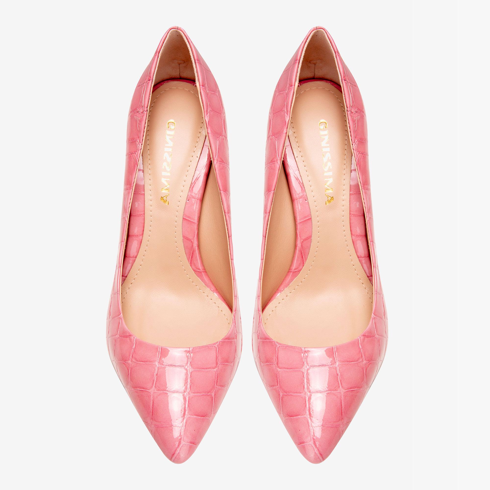 Pantofi cu varf ascutit din piele croco roz Ginissima imagine 2