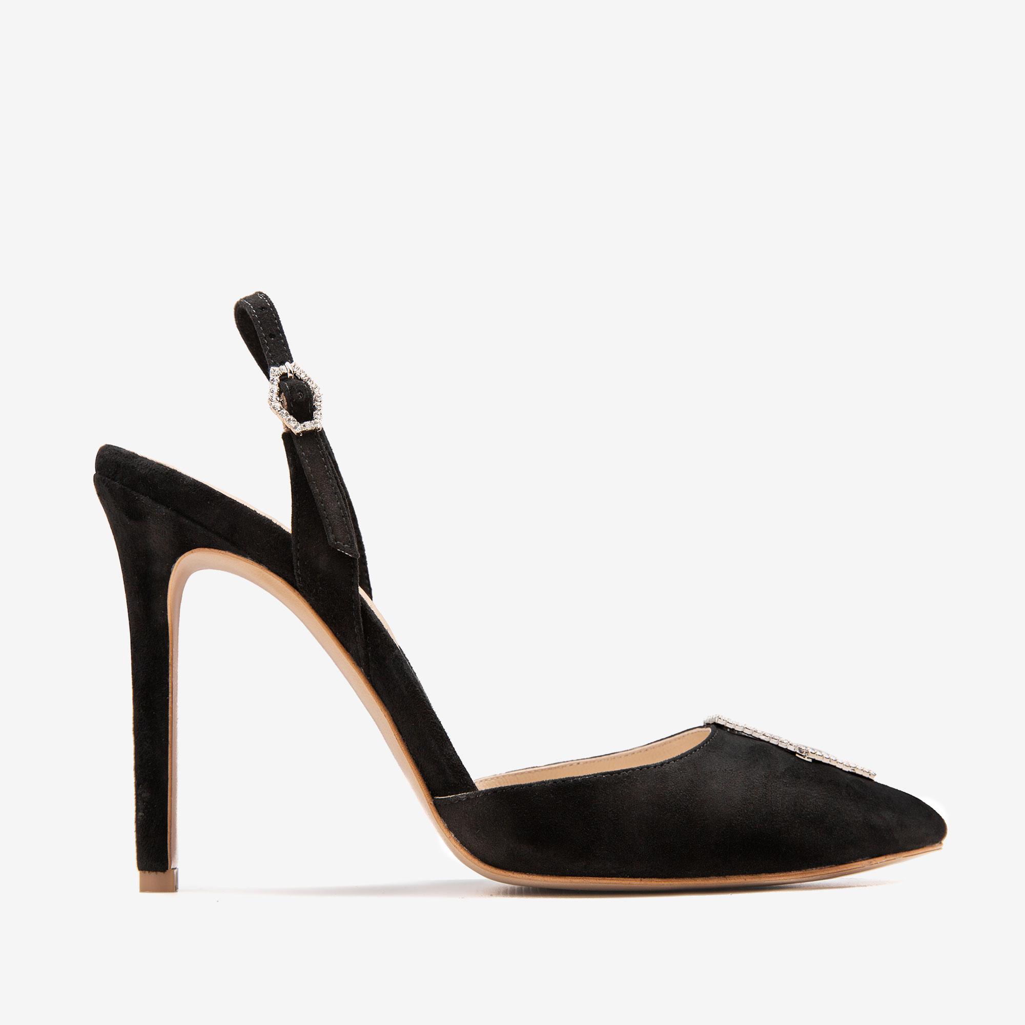 Pantofi din piele intoarsa cu accesoriu Cristal Infinity Ginissima imagine 0