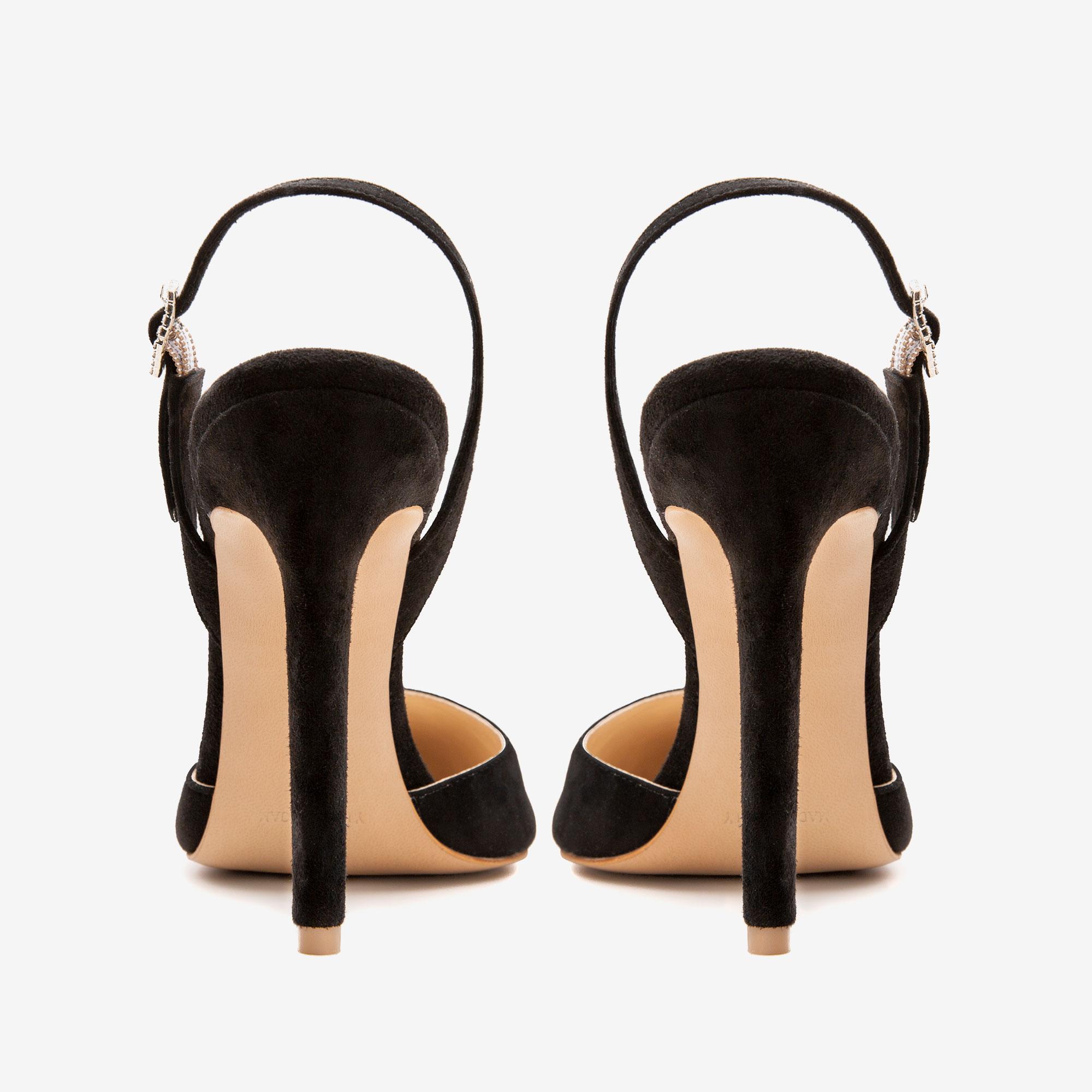Pantofi din piele intoarsa cu accesoriu Cristal Infinity Ginissima imagine 4
