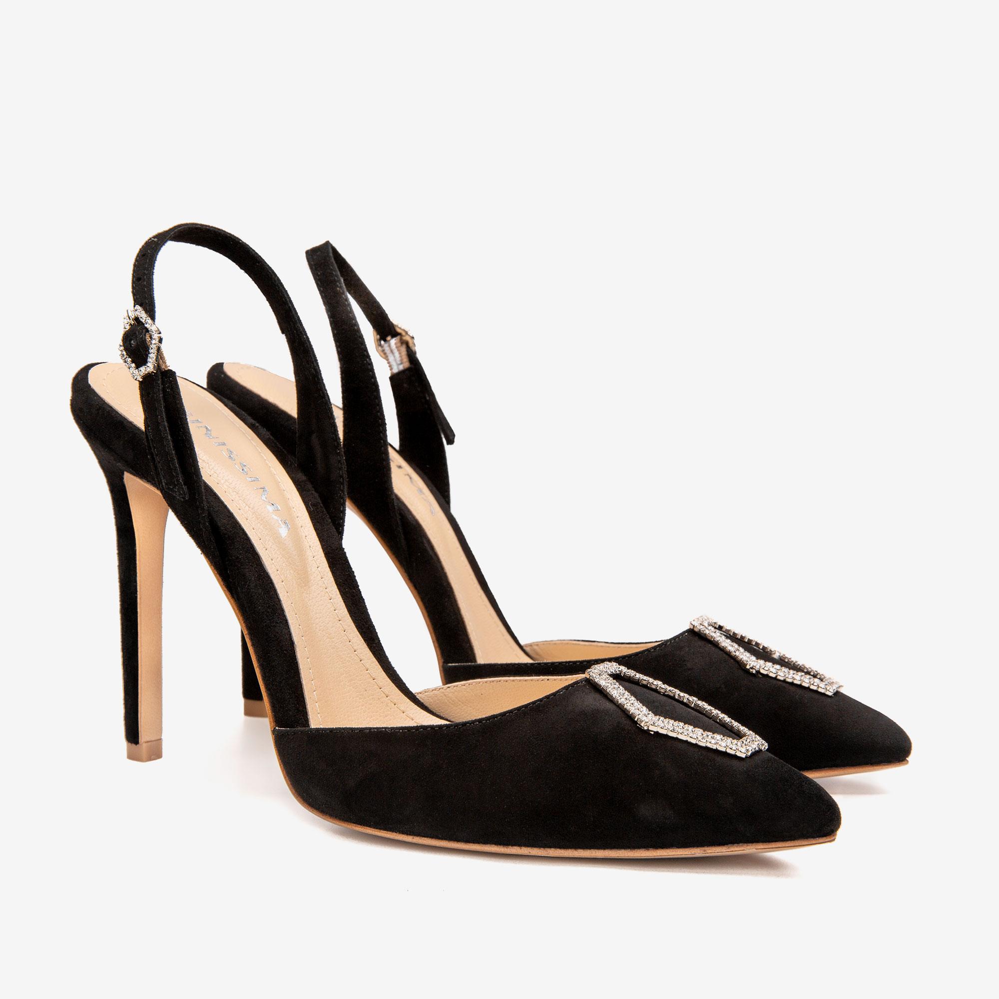 Pantofi din piele intoarsa cu accesoriu Cristal Infinity Ginissima imagine 2