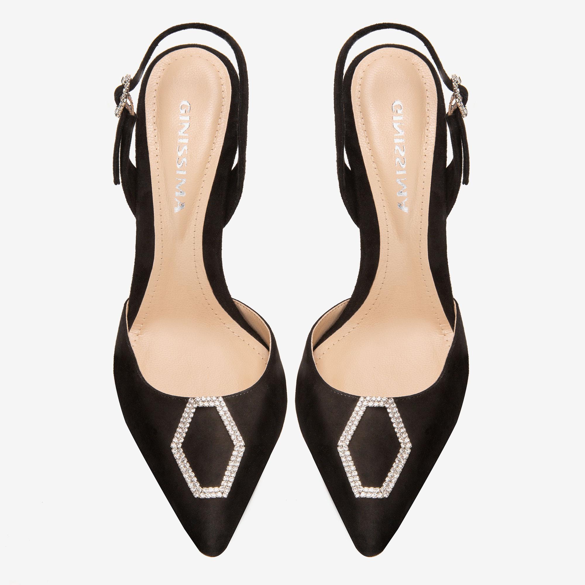 Pantofi din piele intoarsa cu accesoriu Cristal Infinity Ginissima imagine 3