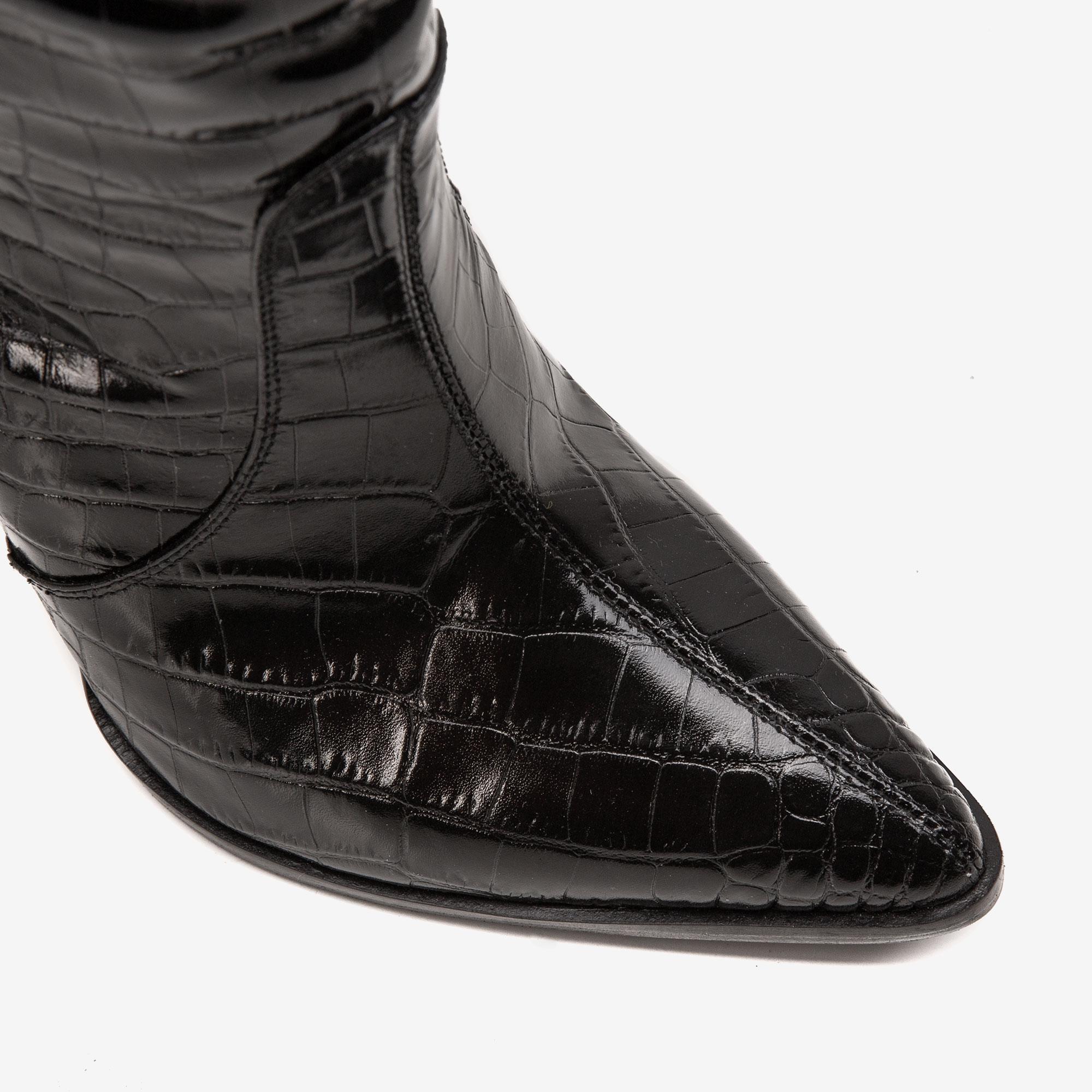 Cizme din piele neagra stantata croco si toc drept Ginissima imagine 1