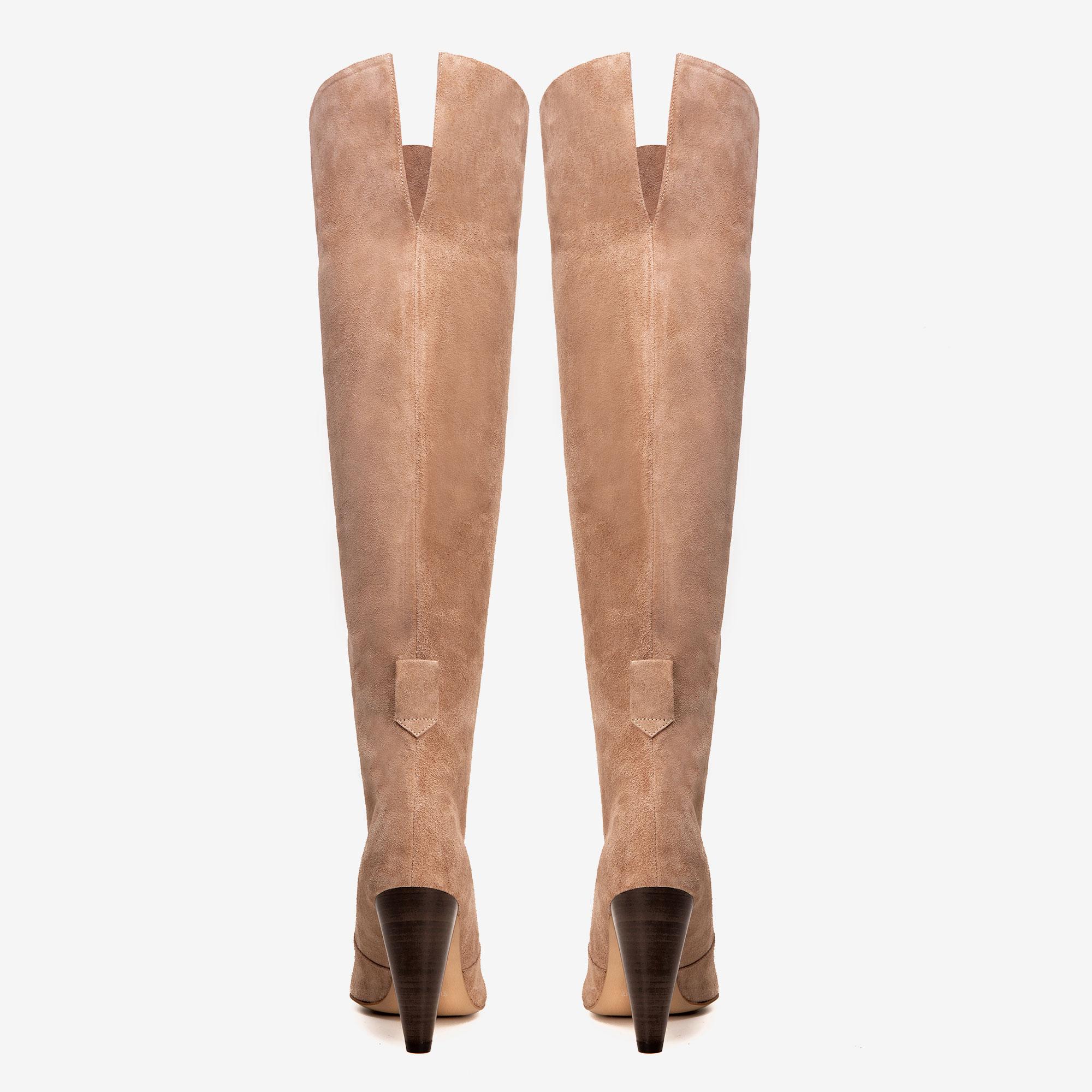 Cizme din piele intoarsa peste genunchi cu accesorii metalice detasabile Ginissima imagine 3
