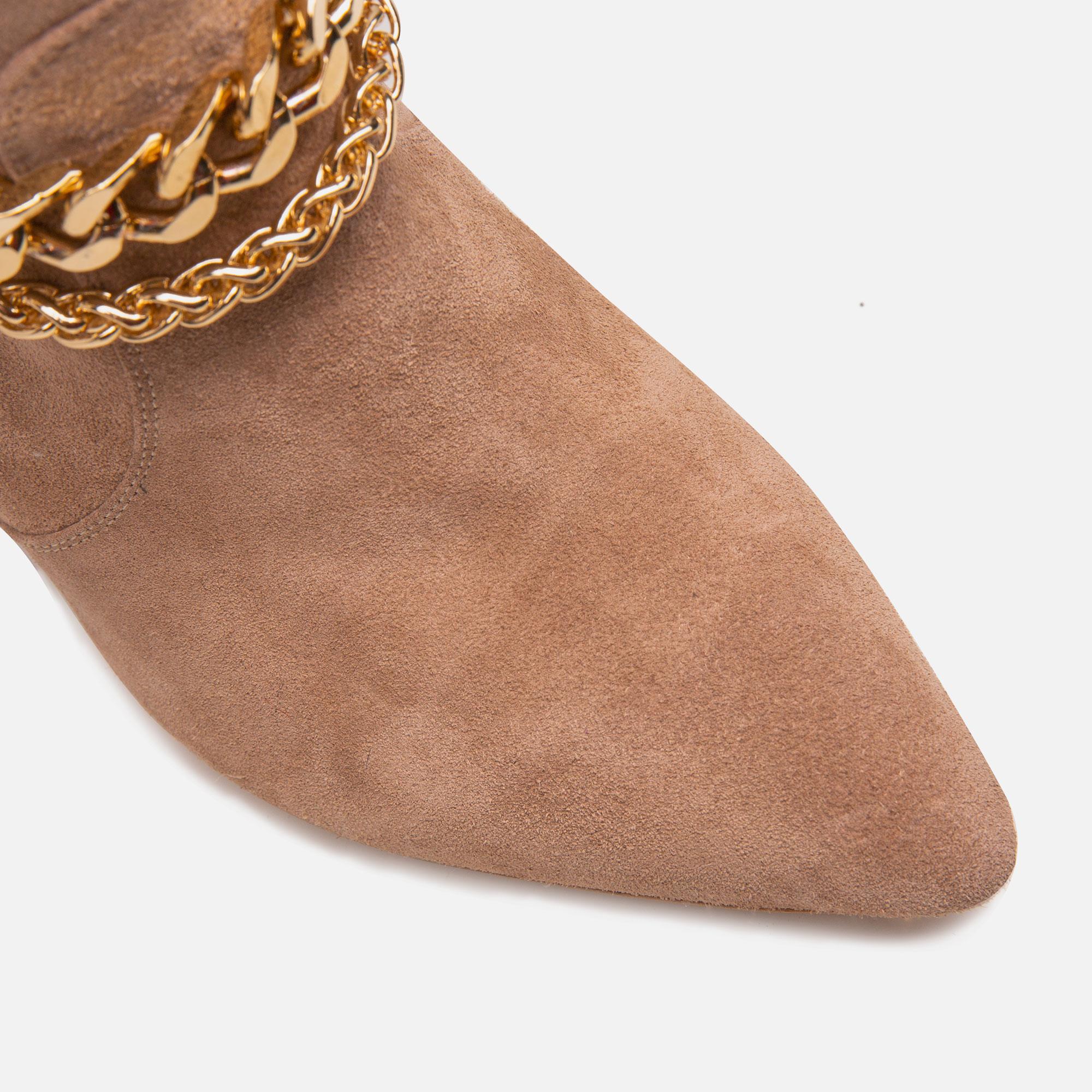 Cizme din piele intoarsa peste genunchi cu accesorii metalice detasabile Ginissima imagine 1