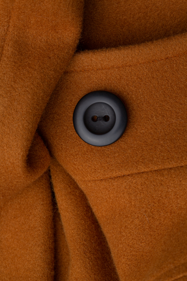 Palton mustar din lana Undress imagine 4