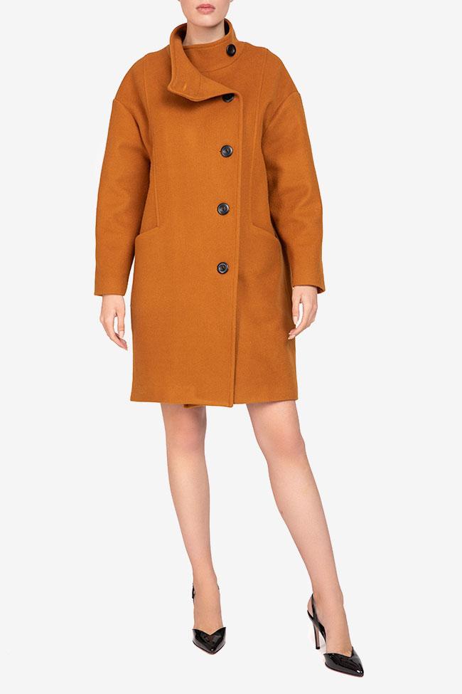 Palton mustar din lana Undress imagine 0