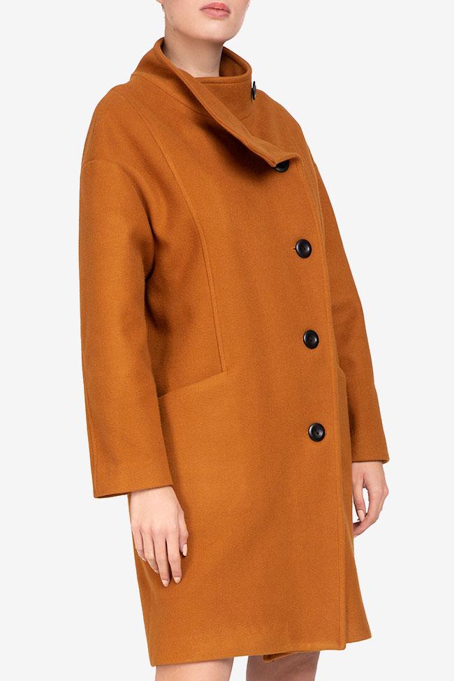 Palton mustar din lana Undress imagine 1