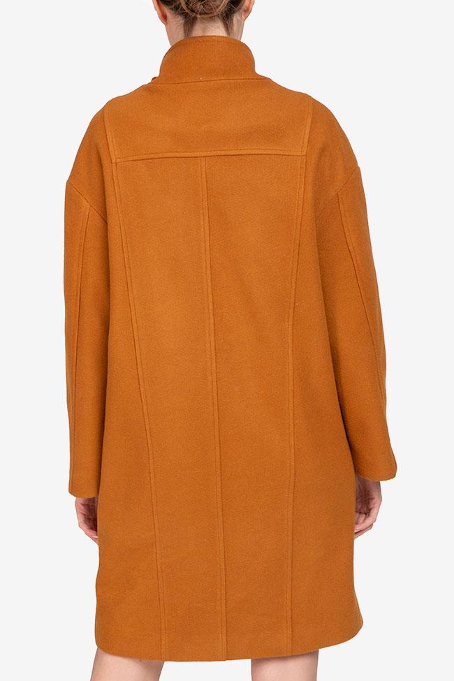 Palton mustar din lana Undress imagine 2
