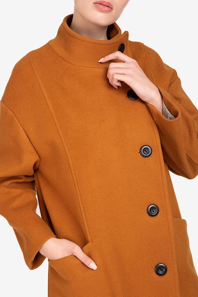 Palton mustar din lana Undress imagine 3