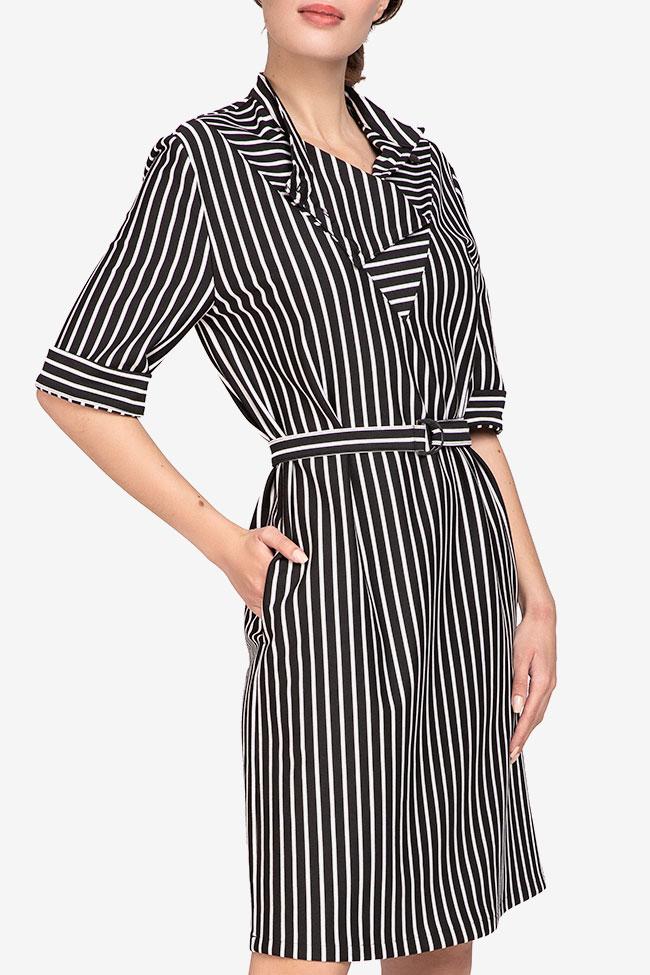 Rochie din viscoza in dungi alb-negre Undress imagine 1