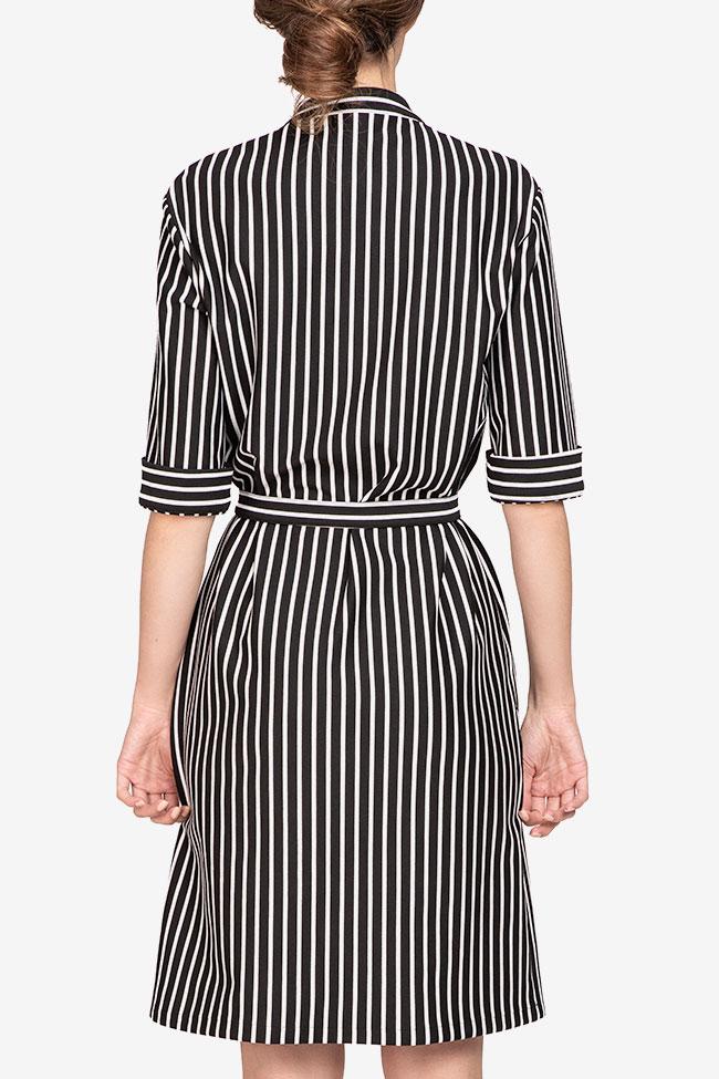 Rochie din viscoza in dungi alb-negre Undress imagine 2