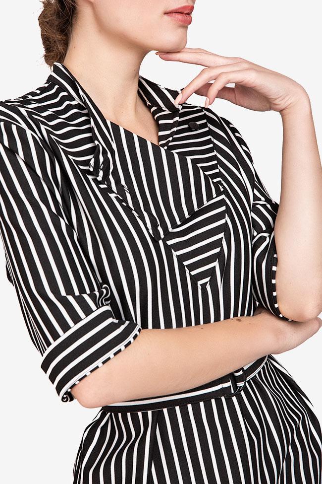 Rochie din viscoza in dungi alb-negre Undress imagine 3