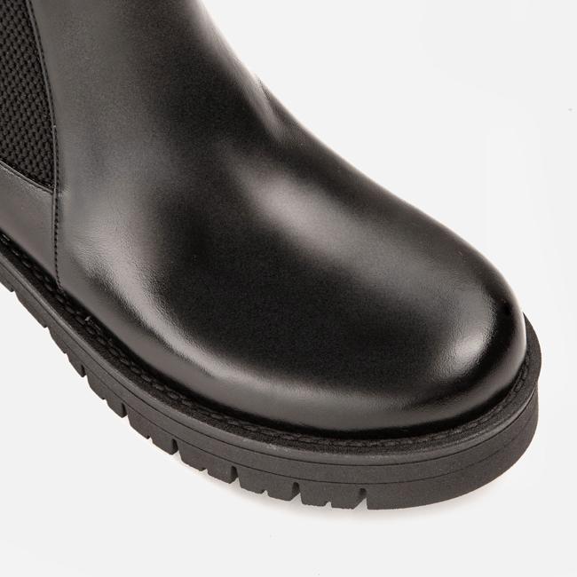 Ghete din piele neagra cu elastic pe lateral Ginissima imagine 4