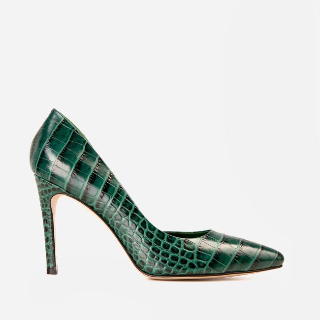 Pantofi din piele verde croco Ginissima imagine 0