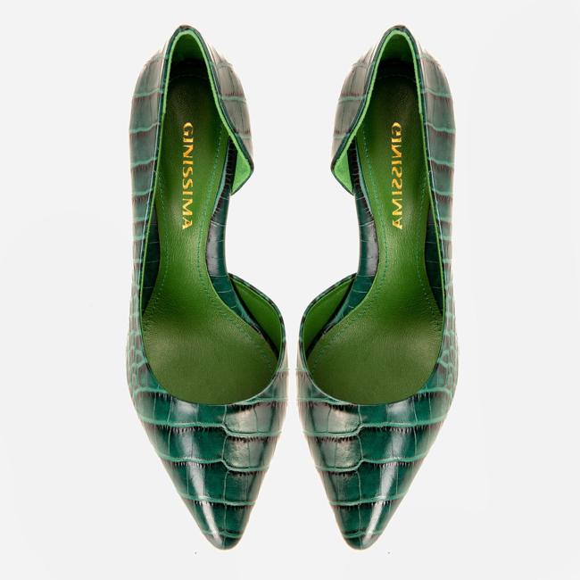 Pantofi din piele verde croco Ginissima imagine 2
