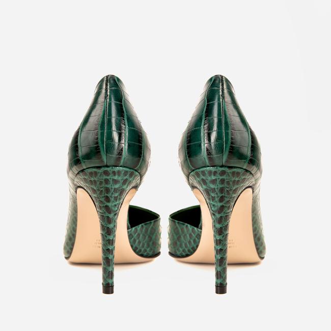 Pantofi din piele verde croco Ginissima imagine 3