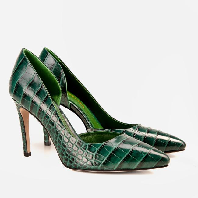 Pantofi din piele verde croco Ginissima imagine 1