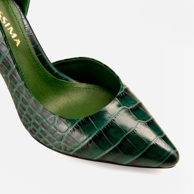 Pantofi din piele verde croco Ginissima imagine 4
