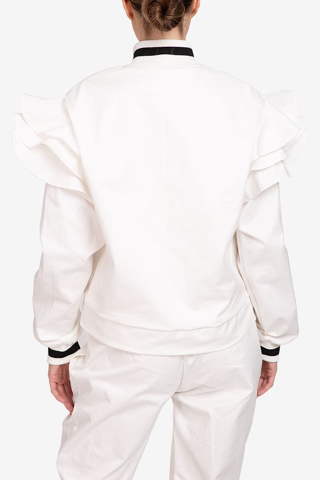 Jacheta alba din bumbac Shakara imagine 2