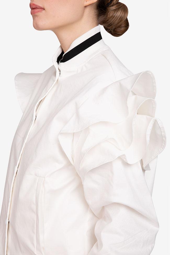 Jacheta alba din bumbac Shakara imagine 3