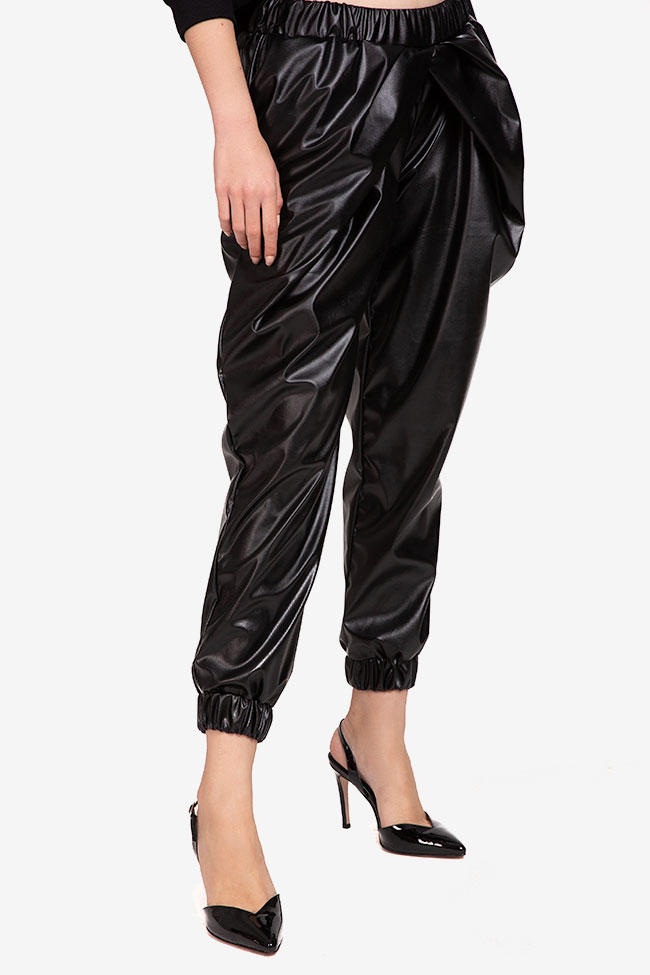 Pantaloni negru din imitatie de piele Shakara imagine 1
