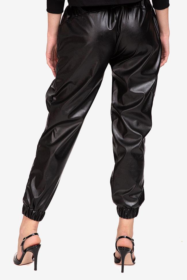 Pantaloni negru din imitatie de piele Shakara imagine 2