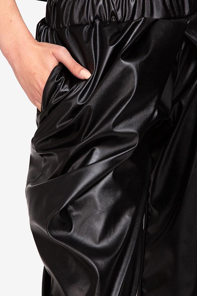 Pantaloni negru din imitatie de piele Shakara imagine 3